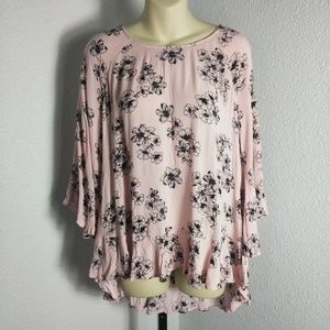a.n.a Pink/Black Size M Ruffled Flared Sleeves Top